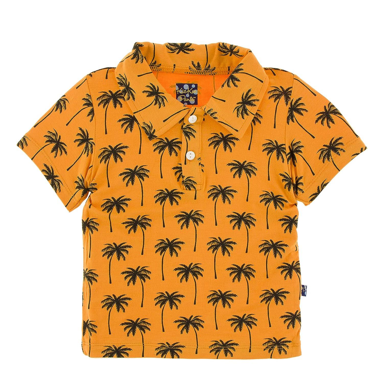 Apricot Palm Trees - M-8//10 Kickee Pants Print Short Sleeve Polo