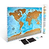 The Ultimate Scratch Off World Map Poster Bundle with US States, Country Flags, Scratching Tool, Wiping Cloth, Pins, and Carrying Pouch included as our Gift - Mark Your Place as You Travel the Globe