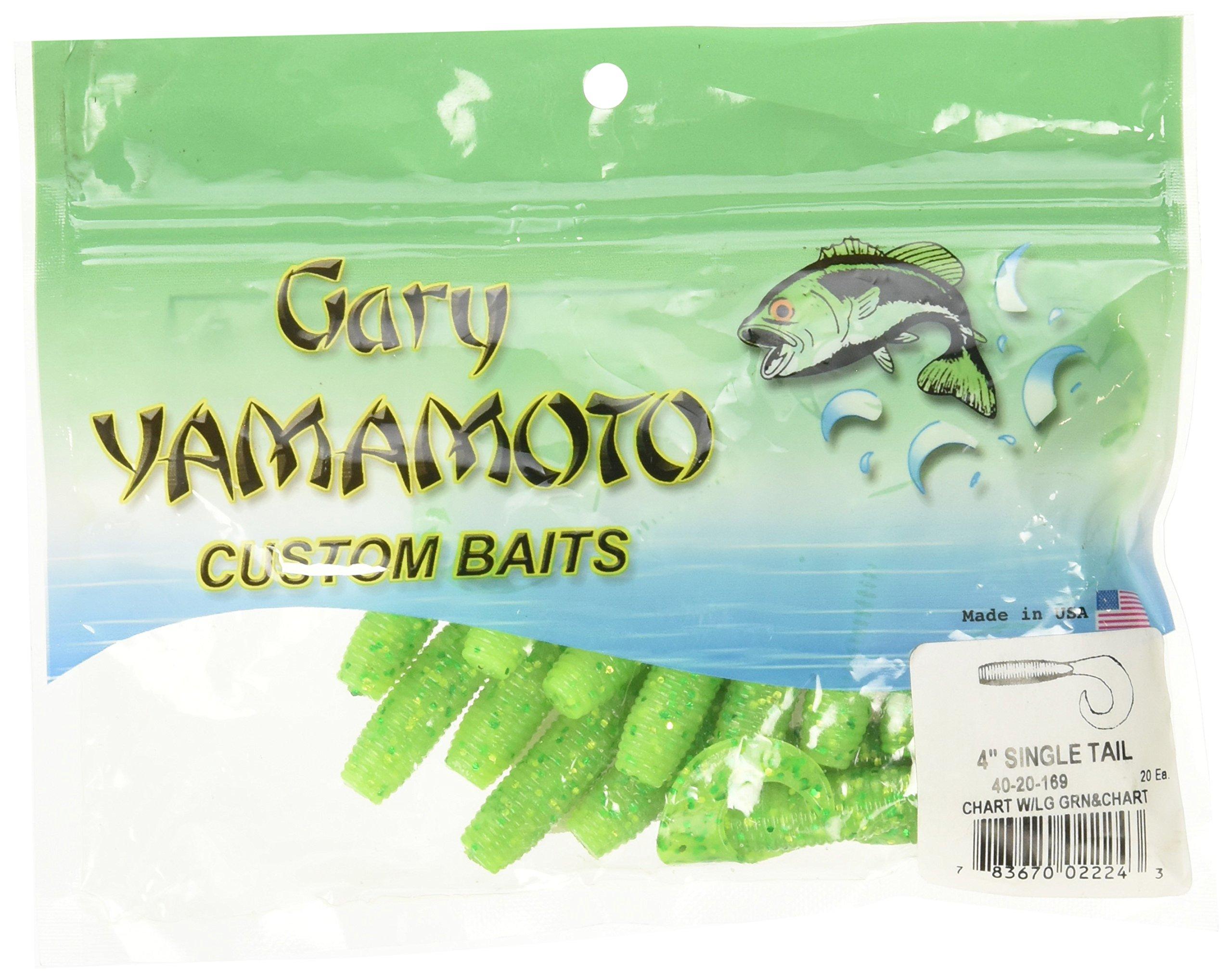 Yamamoto Single Tail Grub 4'', Chartreuse w/Large Chart & Green