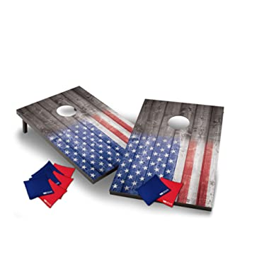 Wild Sports Stars and Stipes Cornhole Set, Flag on Distressed Wood, Two 2' x 3' Boards and 8 Bags