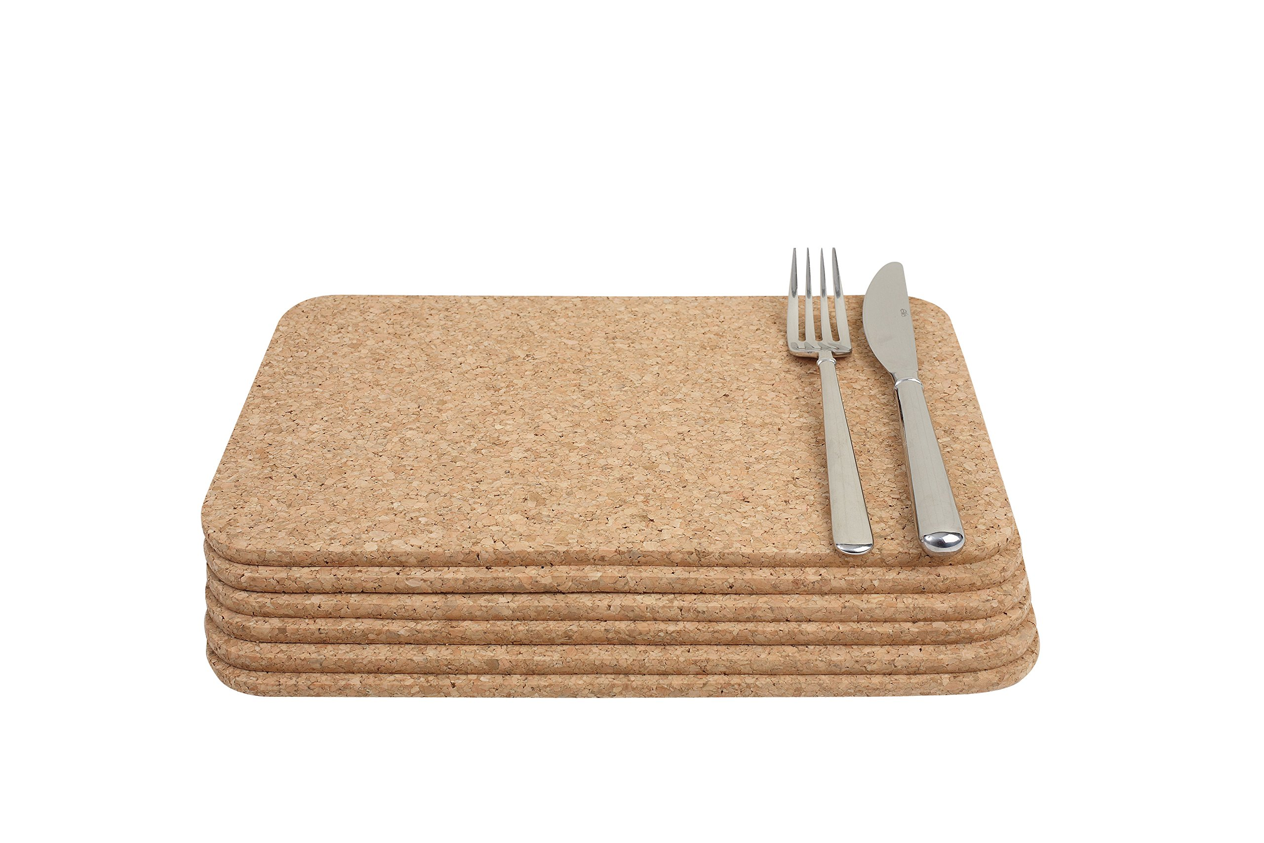 T&G Woodware T&G Rectangular Table Mats in Cork, 28 x 20 x 0.6 cm, Set of 6