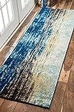 "nuLOOM Waterfall Vintage Abstract Runner Rug, 2' 8"" x 8', Blue"