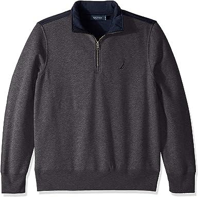 Nautica Mens Pieced Mock Neck 1//4 Zip Sweater