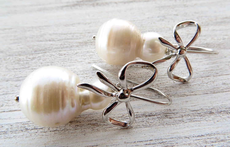 Pendientes de perlas barrocas blancas, pendientes de plata de ley 925, joyas para mujer, joyas de boda, joyas contemporaneas