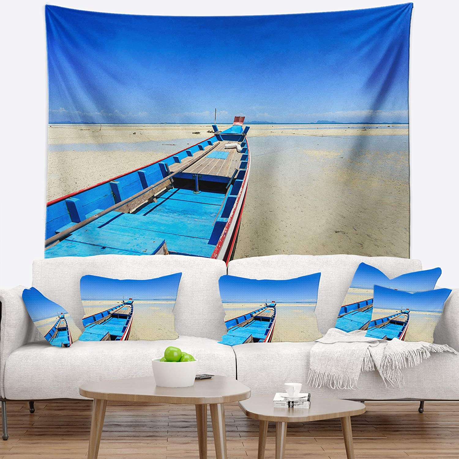 60 in in Designart TAP14724-60-50  Long Tail Boat Stand at The Beach Seashore Blanket D/écor Art for Home and Office Wall Tapestry Large x 50 in