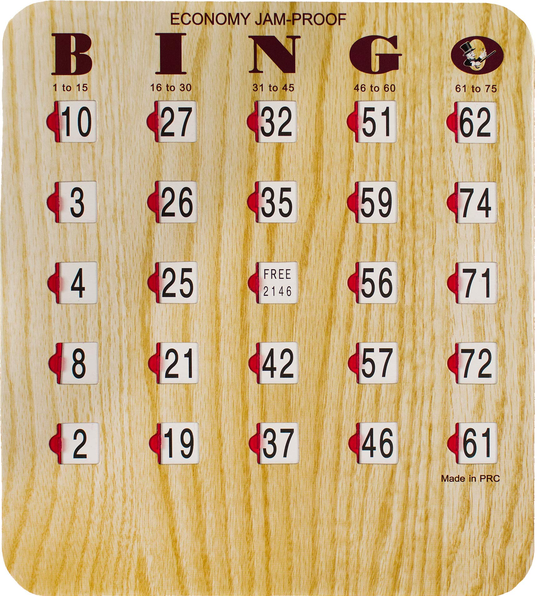 MR CHIPS Bingo Slide Shutter for Senior and Kids - Extra Thick Board - Jam Proof - Easy Sliders with Big Tabs - Wood Grain Color - 1 Card