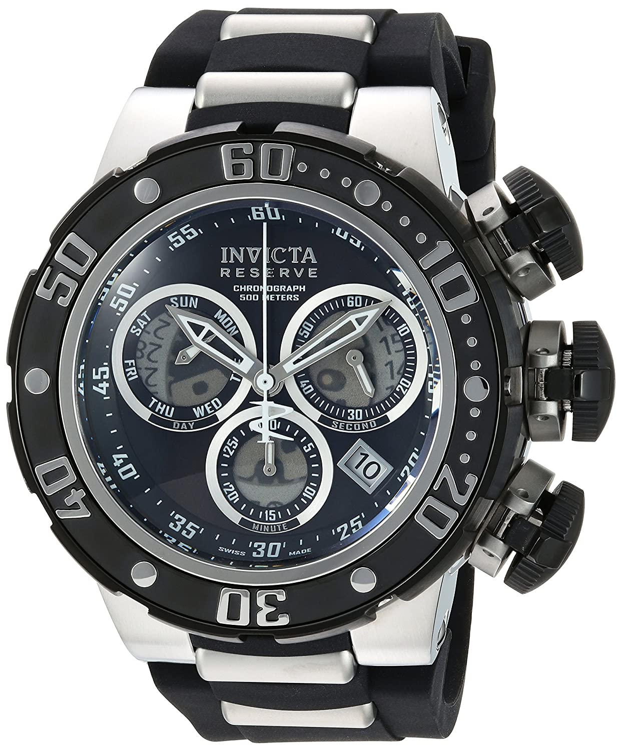Invicta Men s Reserve Stainless Steel Swiss-Quartz Watch with Silicone Strap, Black, 30 Model 21639