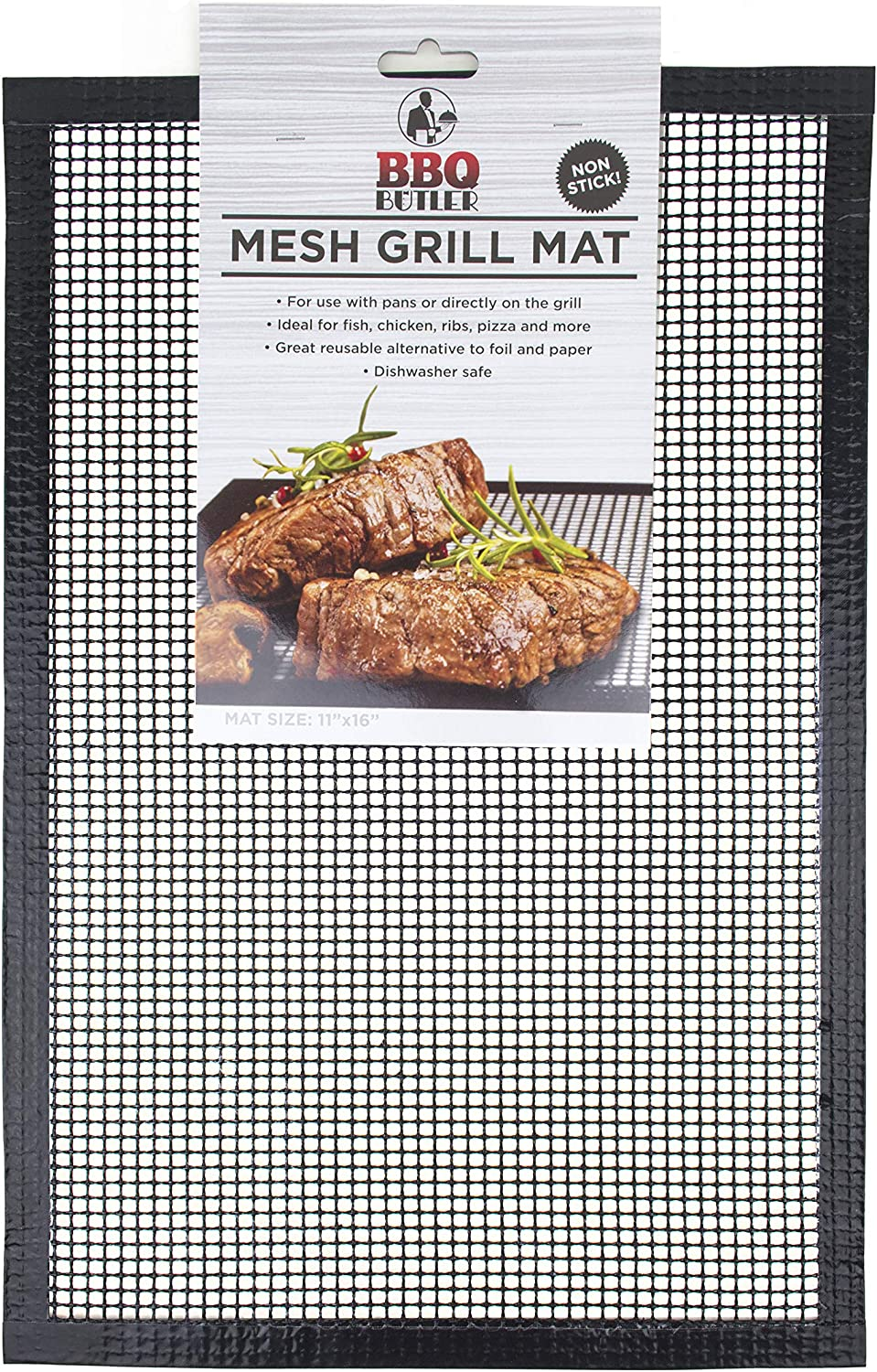 BBQ Butler Grill Mat - Mesh Non-Stick Grill Mat - Perfect For Smokers - Traeger, Green Egg, Kamodo Compatible - 2 Mats
