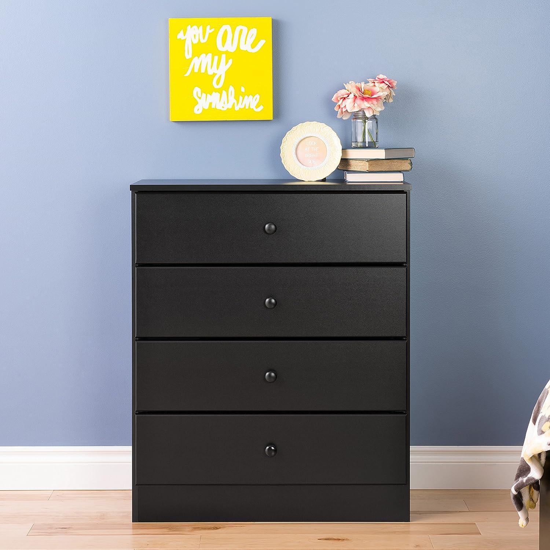Prepac Astrid 4 Drawer Dresser, Black