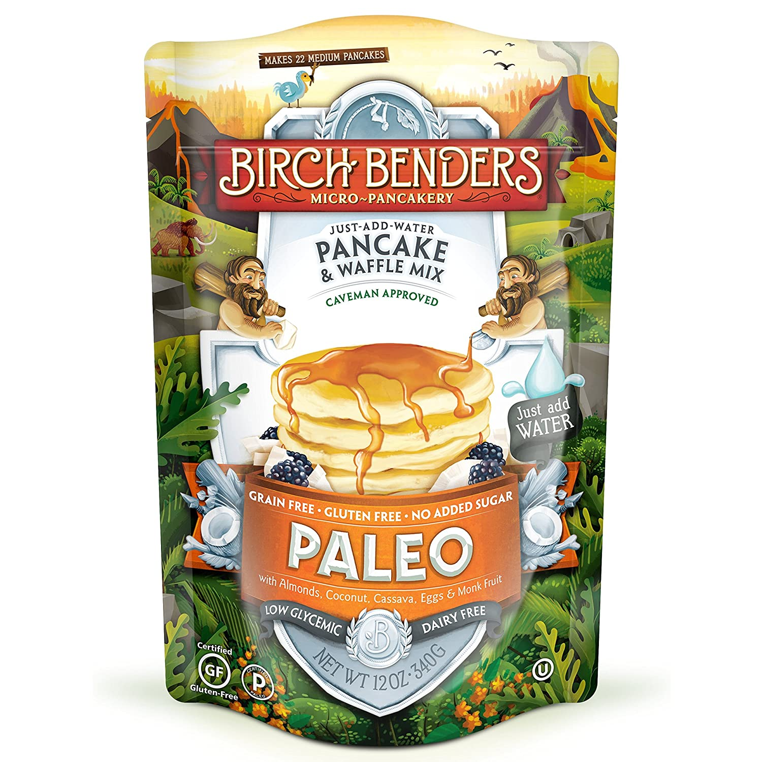 Paleo Pancake and Waffle Mix by Birch Benders, Low-Carb, High Protein, High Fiber, Gluten-free, Low Glycemic, Prebiotic, Made with Cassava, Coconut & Almond Flour, 12 Ounce