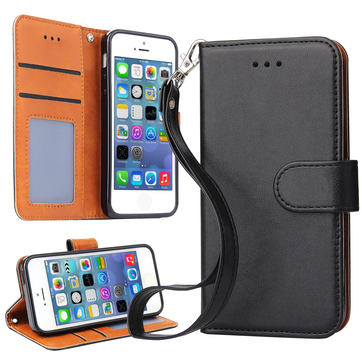 iPhone SE Case, iPhone 5S Case, OKILA Book Style Slim Wallet Case with Kickstand Feature and Card Slot for Apple iPhone SE/5S/5 Phone Leather Case Cover (Black)
