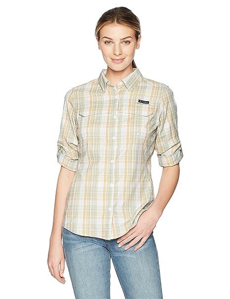 Columbia Super Lo Drag Camisa de Manga Larga para Mujer, Mujer, 1771101, Light Juice Plaid, Medium: Amazon.es: Deportes y aire libre