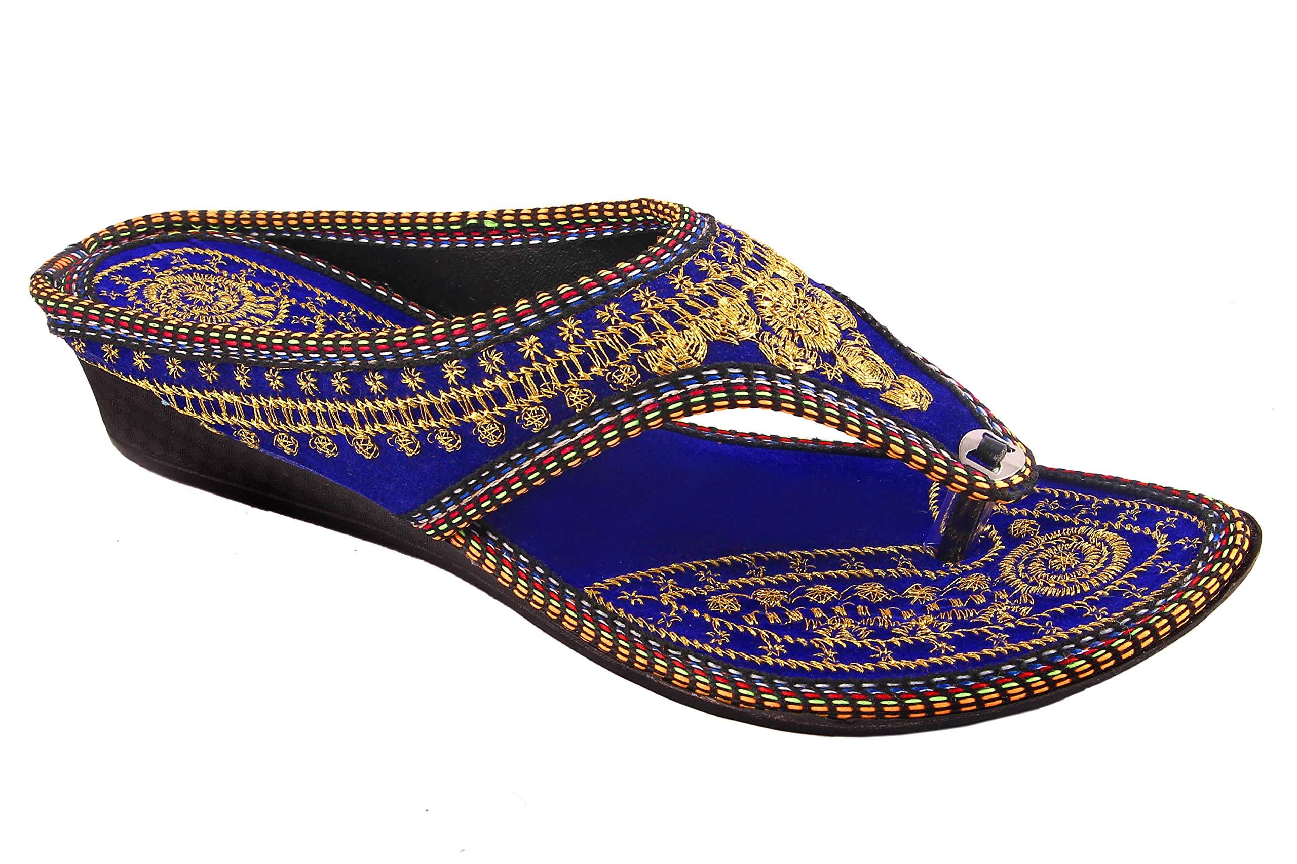 Beauty Craft Women's Blue Velvet Zari Embroidery Work Sandal Ind/UK-7 (B076VSHVK7) Amazon Price History, Amazon Price Tracker