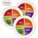 50 Disposable Portion Plates for Adults and Teens 10 inch Food Portion Control to Promote Nutrition Healthy Eating Diet Weight Loss Paper Plate