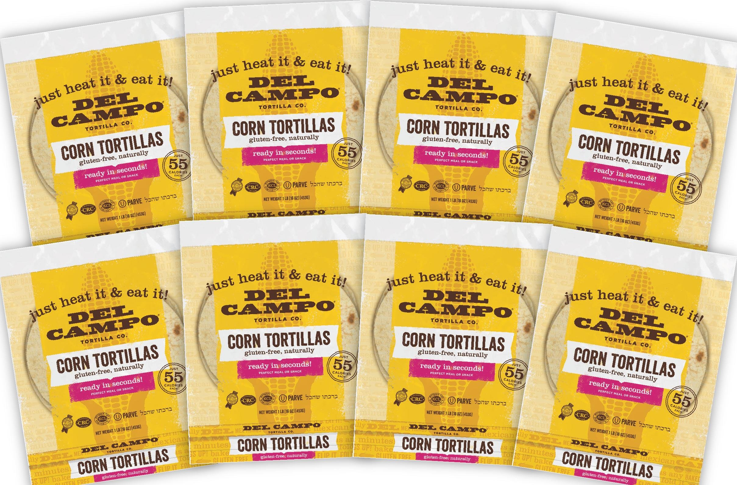 Del Campo Soft Corn Tortillas - 6 Inch Round 1Lb. Bag. 100% Natural, Gluten Free and All-Corn Authentic Mexican Food. Many Serving Options: Wraps, Tacos, Quesadillas or Burritos, Kosher. (8lb Case) by Del Campo Tortillas