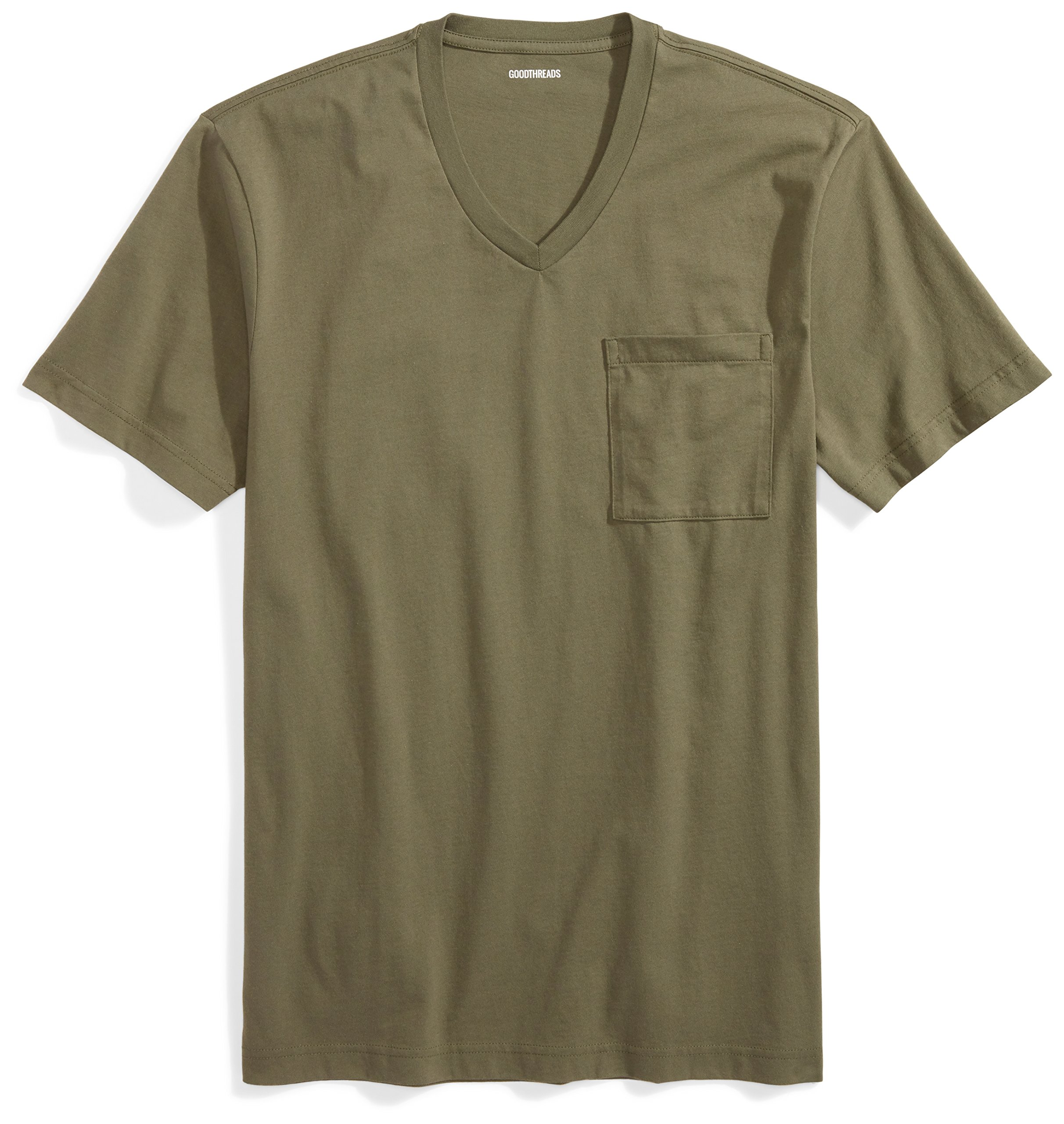 Goodthreads Men's Short-Sleeve V-Neck Cotton T-Shirt, Olive, Medium by Goodthreads