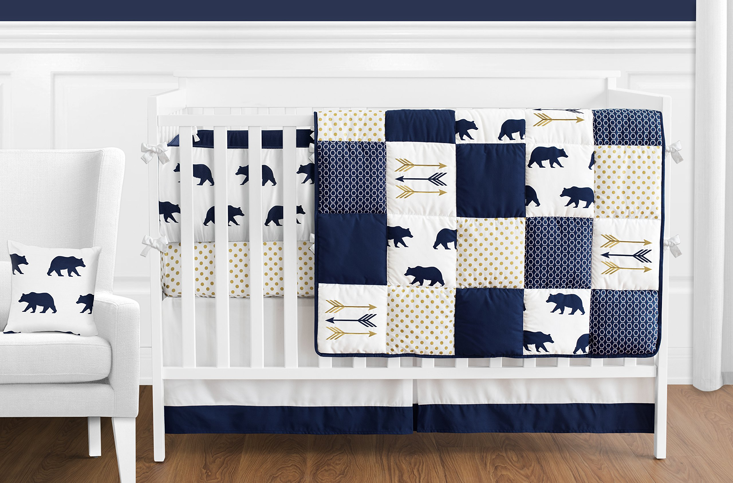 Sweet Jojo Designs 9-Piece Navy Blue, Gold, and White Patchwork Big Bear Boy Baby Crib Bedding Set with Bumper s