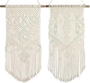 "Livalaya Boho Macrame Wall Hanging Woven Decor – 24""L x 13""W, Set of 2, Beige Modern Bohemian Farmhouse Wall Art Tapestry Decor for House, Apartment, Dorm Room, Nursery, Geometric Aztec Décor"