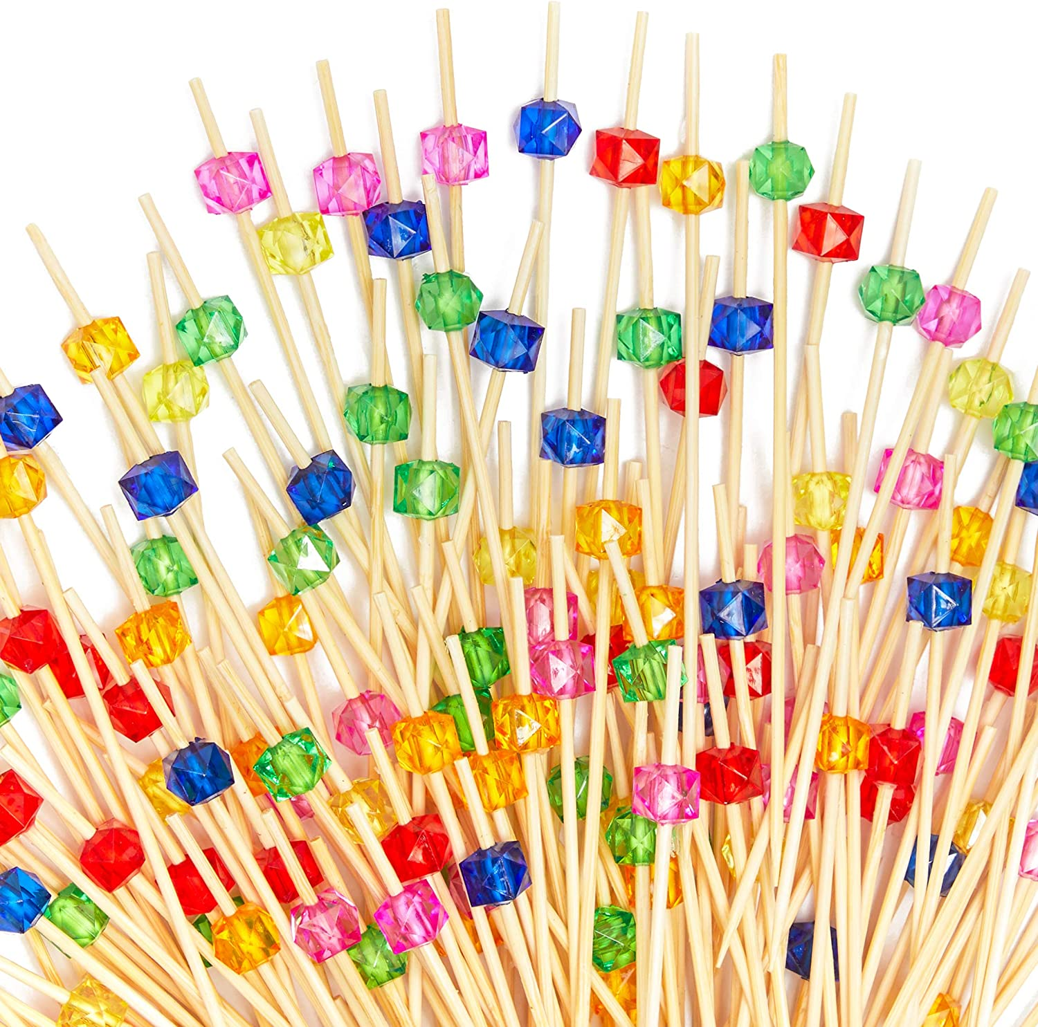 Bamboo Appetizer Picks with Colored Jewels (4.7 Inches, 150 Pack)