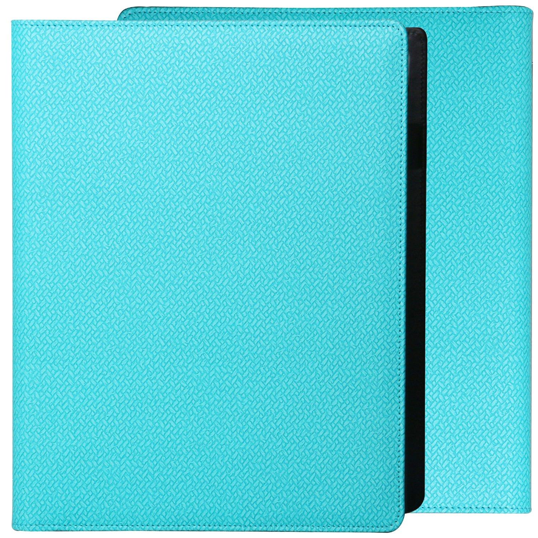 Z PLINRISE Luxury Marble Portfolio File Folder Document Resume Organizer,Padfolio File Holder Folders Letter Size,Standard 3 Ring Binder with Clipboard (T-Blue)