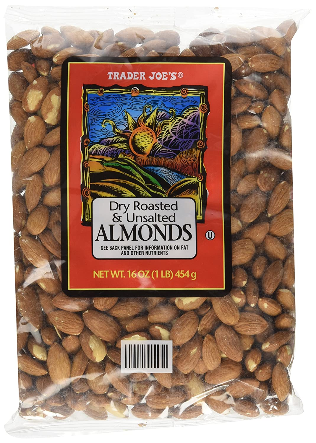 Trader Joe's Dry Roasted & Unsalted Almonds, 16 Ounce