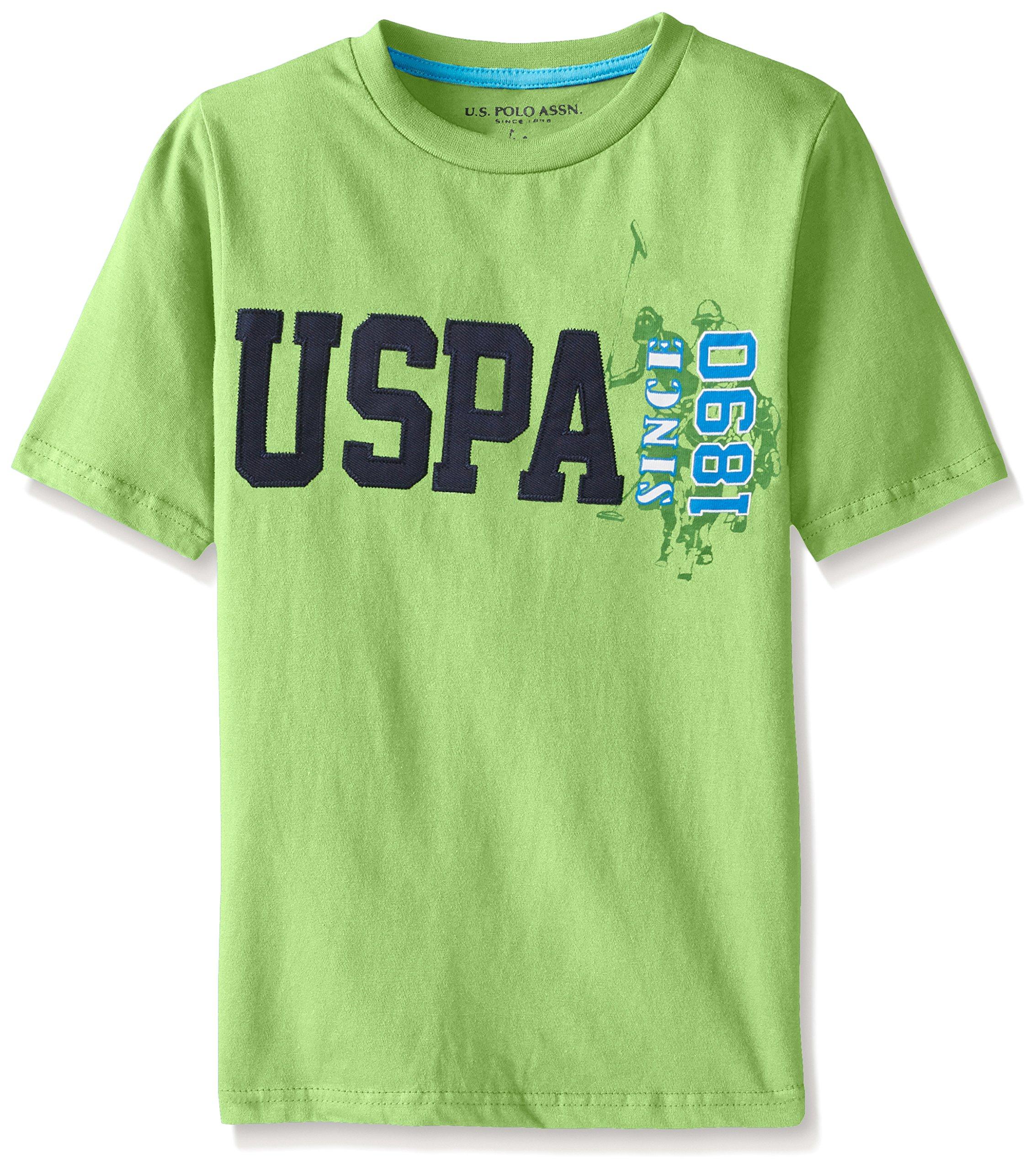U.S. Polo Assn. Big Boys Cotton Jersey Graphic Crew T-shirt, Summer Lime, 10/12