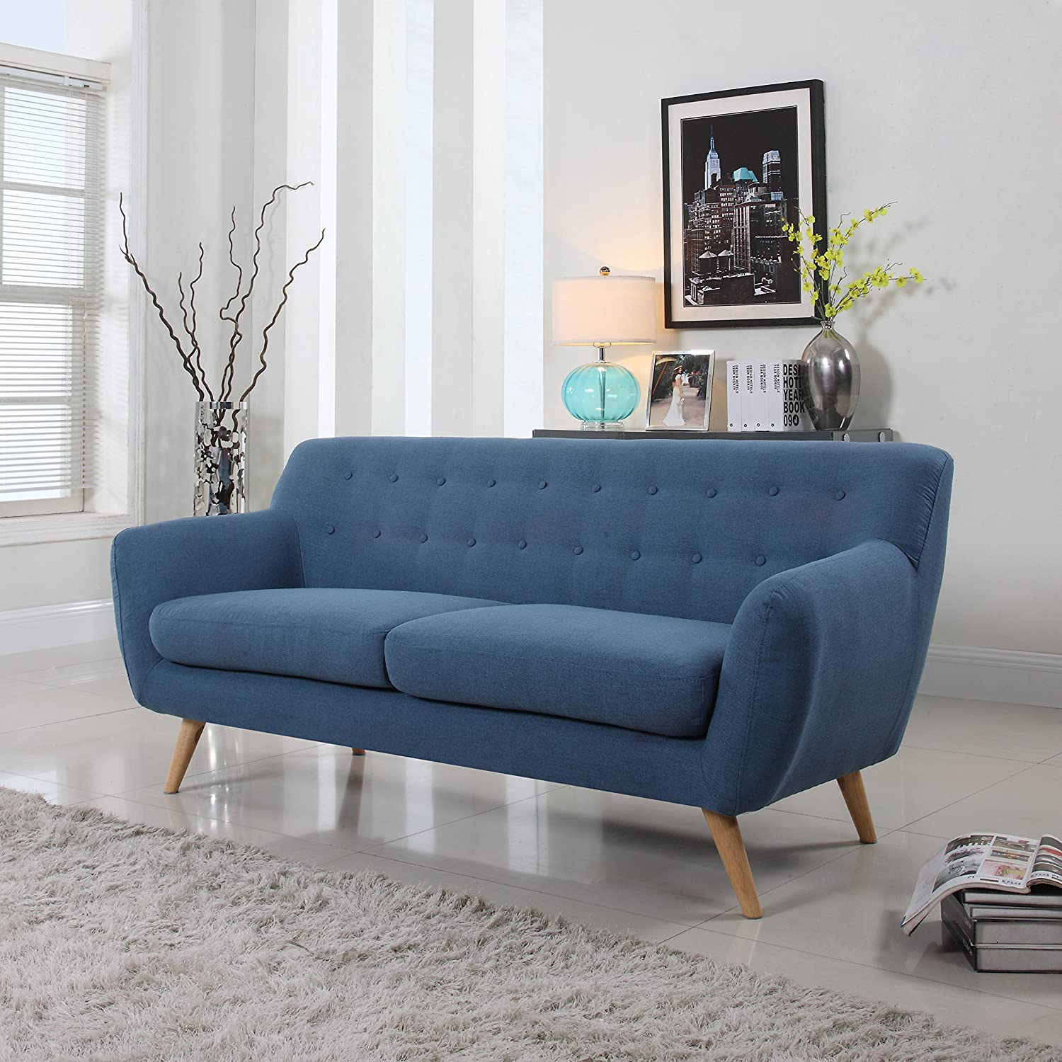 Amazon Mid Century Modern Linen Fabric Sofa Loveseat in
