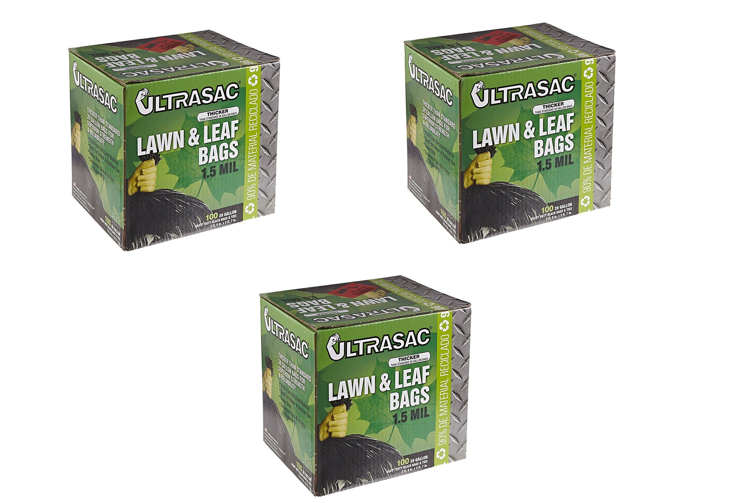 Aluf Plastics 769646 Ultrasac Heavy Duty Professional Quality Lawn and Leaf Trash Bag, 39 Gallon Capacity, 43'' Length x 33'' Width, Black (3 Boxes)