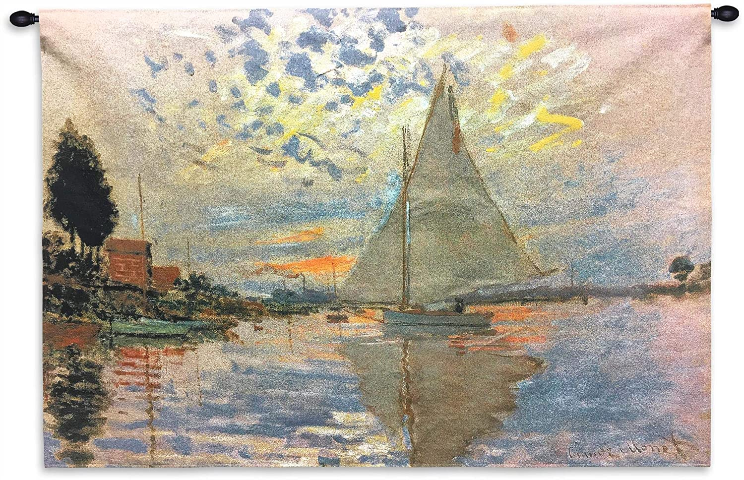 Sailboat at Le Petit-Gennevilliers by Claude Monet   Woven Tapestry Wall Art Hanging   Serene Sunset Harbor Impressionist Masterpiece   100% Cotton USA Size 43x31
