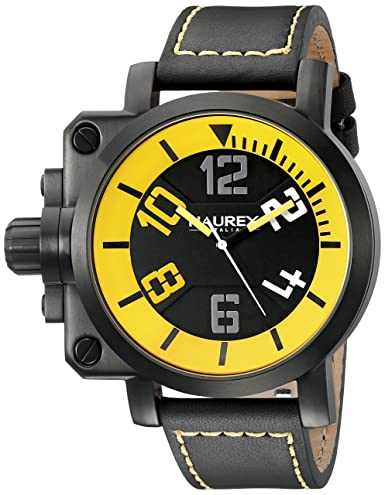 Haurex Italy Men s 6N508UYN Gun Analog Display Quartz Black Watch