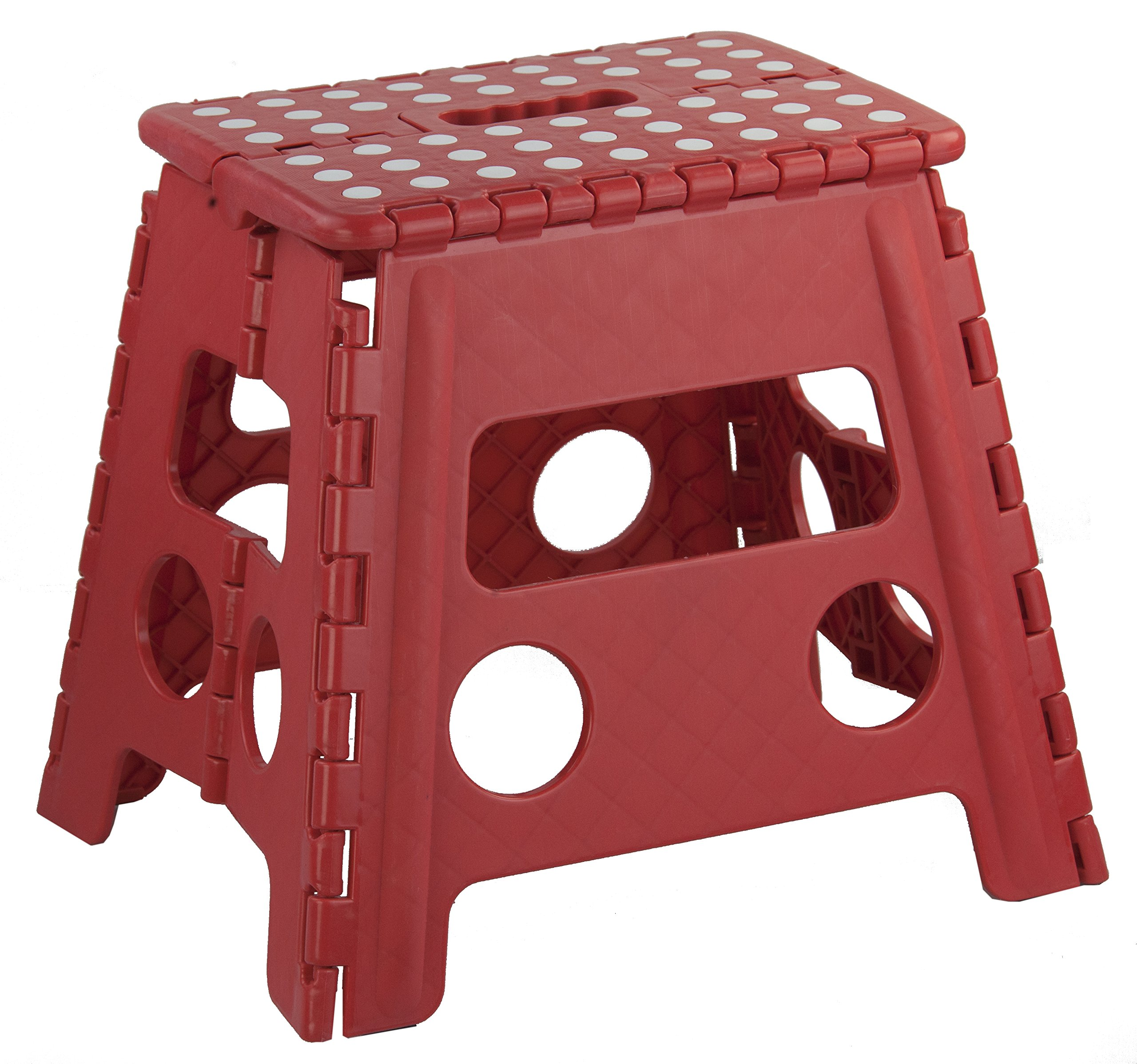 Home Basics FS49038-Red Folding Kids Step Stool with Non-Slip Dots, Large, Red