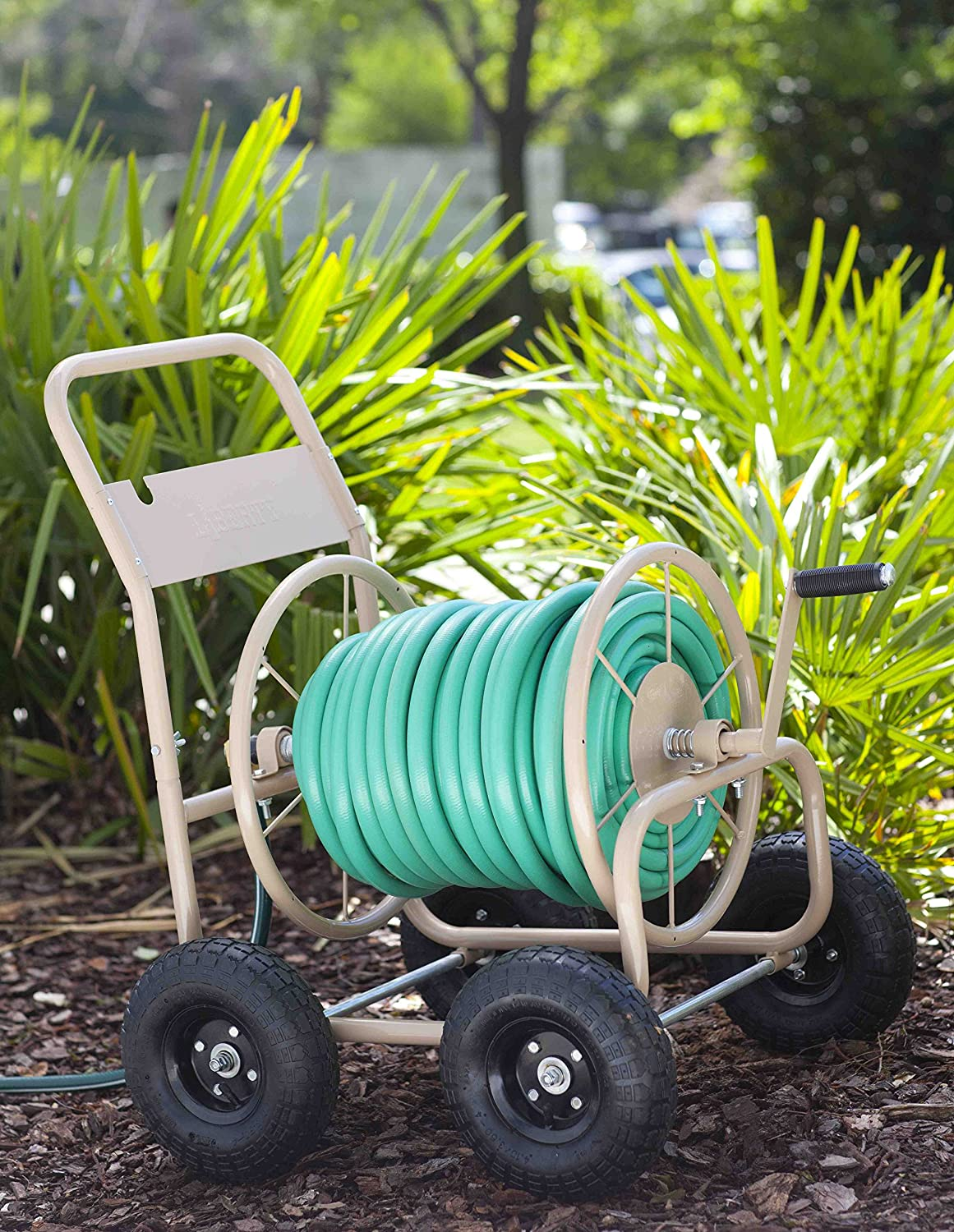 garden products. amazon.com : liberty garden products 870-m1-2 industrial 4-wheel hose reel cart, holds 300-feet of 5/8-inch - tan cart with wheels