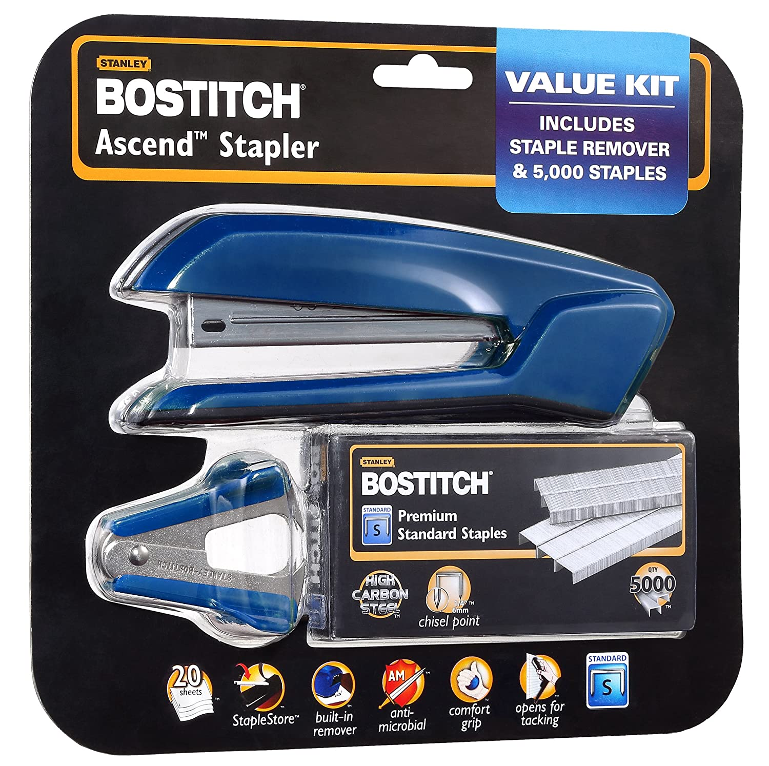 White B210-WHT Bostitch Office B210R-WHT Ascend 3 in 1 Stapler with Integrated Remover /& Staple Storage