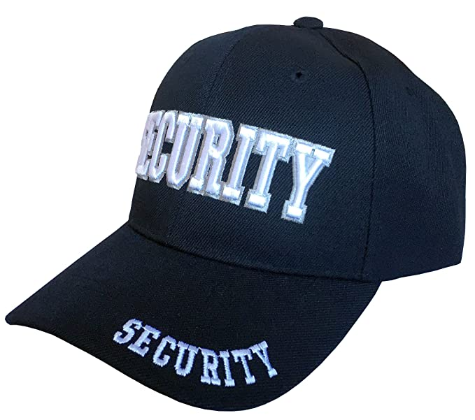 b63ad141f3c43a Amazon.com: SunGal Security, Law Enforcement Headwear, 3D Embroidered  Baseball Cap Hat, Adjustable (Black): Clothing