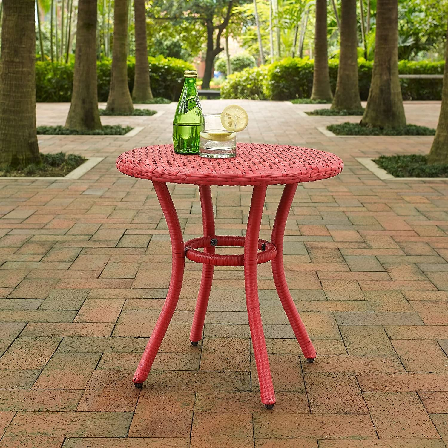Crosley Furniture Palm Harbor Outdoor Wicker Round Side Table Red