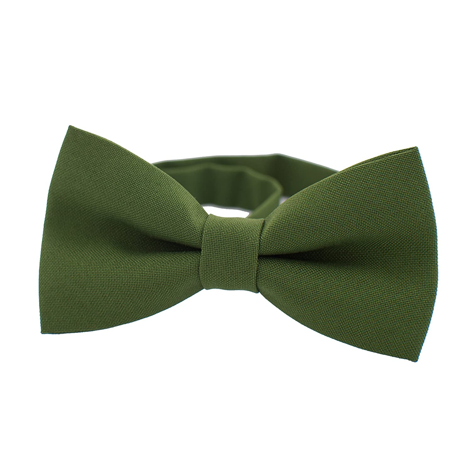 by Bow Tie House Medium, Light Green Classic Pre-Tied Bow Tie Formal Solid Tuxedo