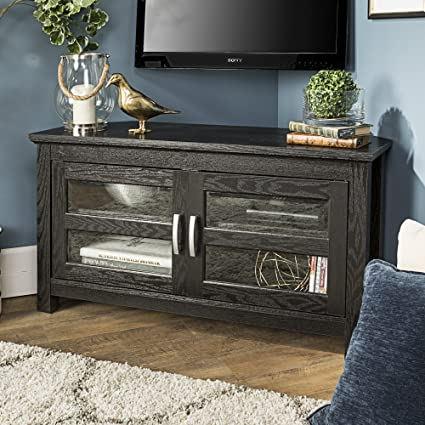 Amazon Com New 44 Inch Wide Corner Tv Stand Black Finish And Glass