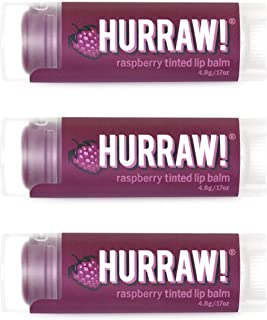 product image for Hurraw! Raspberry Tinted Lip Balm, 3 Pack: Organic, Certified Vegan, Cruelty and Gluten Free. Non-GMO, 100% Natural Ingredients. Bee, Shea, Soy and Palm Free. Made in USA