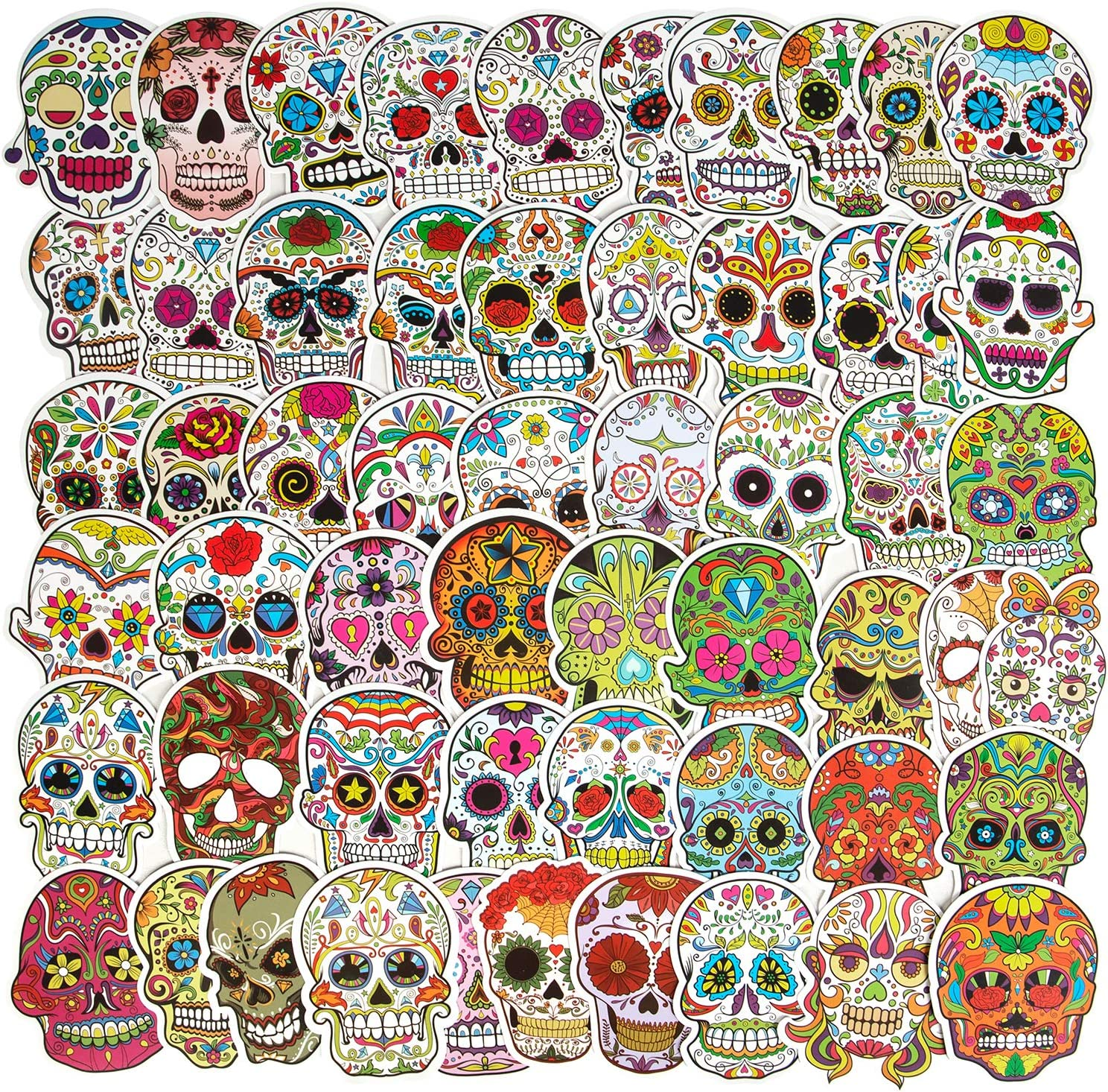 Mexican Day of The Dead Stickers, Sugar Skull Stickers(50pcs), Waterproof Water Bottle Stickers Skateboard Stickers Laptop Stickers for Teens, Halloween Party Favor Supplies Luggage Bike Vinyl Decal