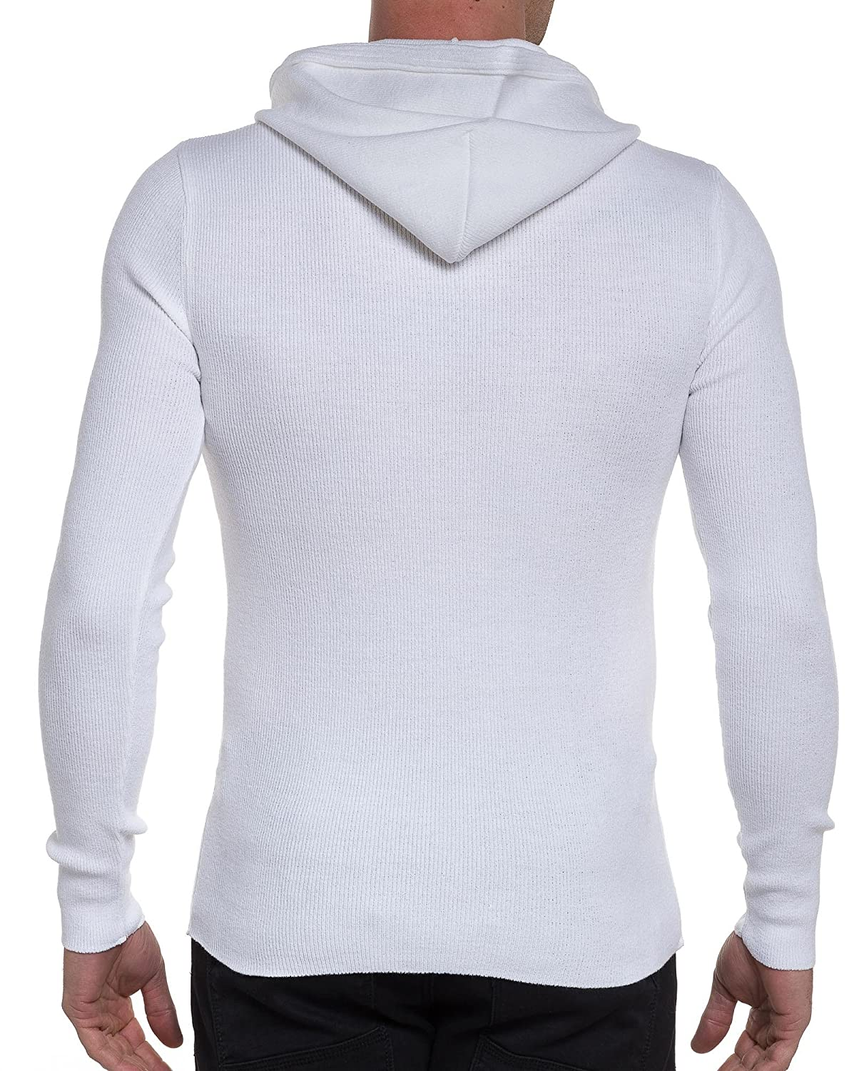 BLZ jeans - basic ribbed white collar hooded sweater buttons