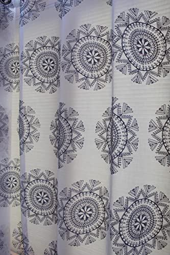 Editors' Choice: Regal Home Collections Simone Matte Sheer Grommet Curtain Panel: Elegant Embroidered Geometric Design White/Grey