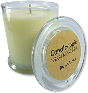 product image for Candlecopia Beach Linen Strongly Scented Hand Poured Vegan Candle, Status Jar, Glass Lid