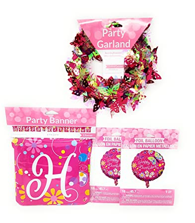Rainbow Butterfly Sparkle Birthday Party Decorations 3 Piece Bundle