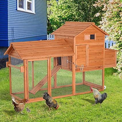 PawHut Gallinero Exterior Madera Integrado Run Limpieza Bandeja Casa para Gallinas Jaula para Animales Pequeños Pollo 213x91x122cm: Amazon.es: Productos ...