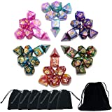 SmartDealsPro 6 x 7PCS(42 Pieces) Glitter Polyhedral Dice Sets with Pouches for DND RPG MTG Dungeon and Dragons Table…