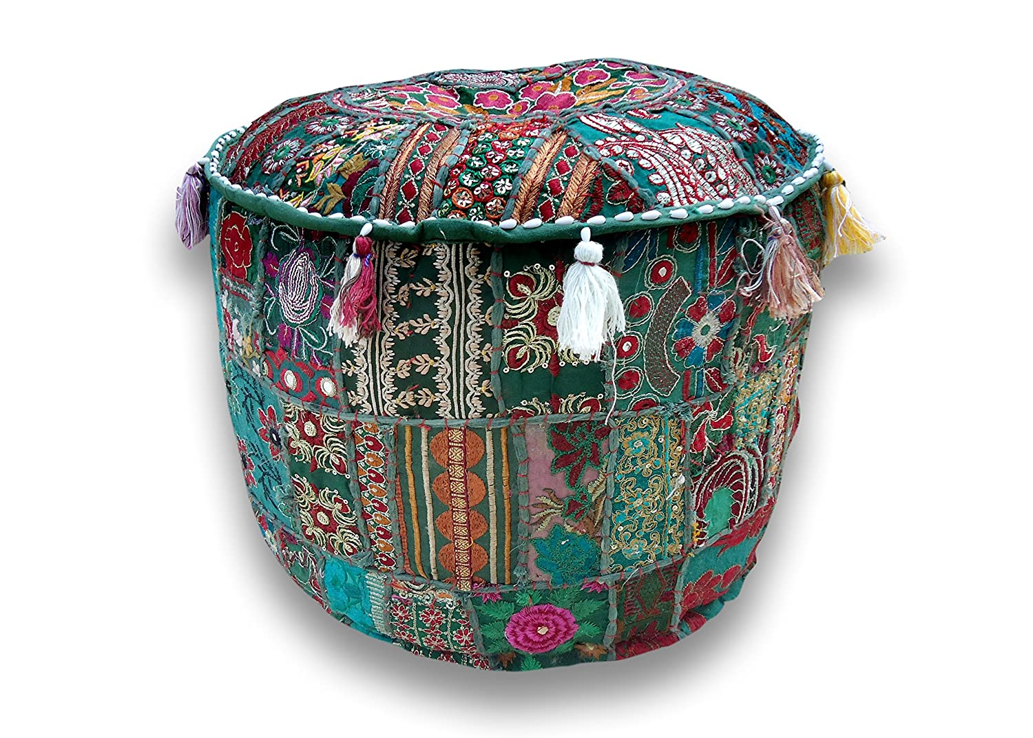 """Rajasthali"" Indian Traditional Home Decorative Multi Ottoman Handmade and Patchwork Foot Stool Floor Cushion, Size 14 X 18 X 18 Inches[Cover only; insert not included ]"