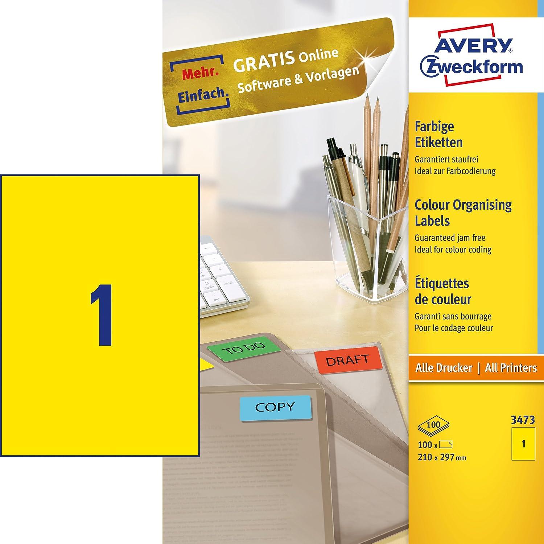 Avery Zweckform 3473 Farbige Etiketten (210 x 297 mm) 100 Blatt/100 ...