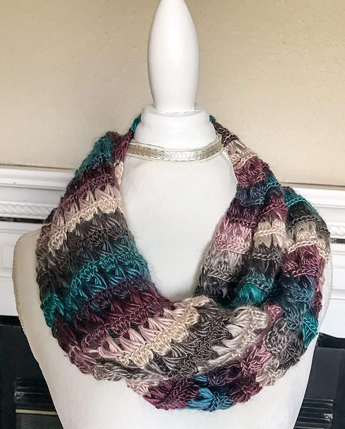 Amazon Crochet Broomstick Lace Infinity Scarf Handmade Multi