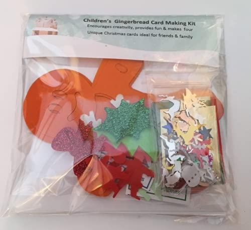NEW for 2017, Children's Christmas Gingerbread man Card Making Kit - Makes 4 unique & personalised christmas cards