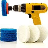 Bathroom & Kitchen Power Scrub Pad Cleaning Kit - 9 Piece Set Includes EXTRA Scrub Pad - Saves Time & Money